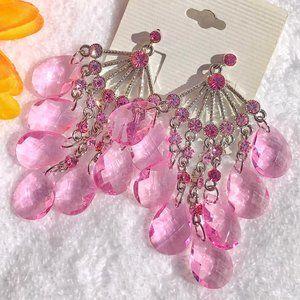 Boho Earrings Long Pink Rhinestone Drop Posts NWT